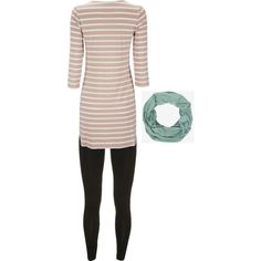 Teacher Outfit - Monday! Black Leggings, Striped Tunic, Infinity Scarf