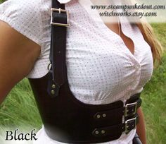 Steampunk Leather Under Bust Harness in Antiqued by SteampunkedOut, $98.50