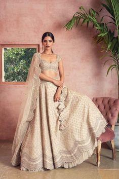 Buy Embroidered Lehenga Set by Anushree Reddy at Aza Fashions - business inspiration Designer Bridal Lehenga, Bridal Lehenga Choli, Indian Lehenga, Lehenga Designs, Indian Wedding Outfits, Indian Outfits, Wedding Dresses, Wedding Mandap, Wedding Stage