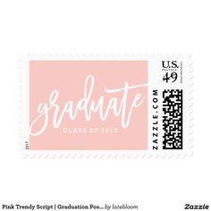 Pink Trendy Script | Graduation Postage