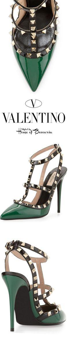 ~Valentino Rockstud Emerald Colorblock, Patent Leather Pump | House of Beccaria#