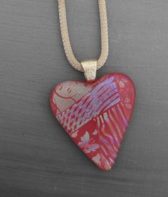 New to GlassCat on Etsy: Pink Glass Heart Necklace Fused Glass Heart Pendant Patchwork Dichroic Fused Glass Heart Pendant - Pink Valentine Heart Necklace (30.00 USD)