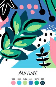 🌿 Trendcolor Inspiration for Graphic Design - Color Palette shared by Contemporary Colour Graphic Design Illustration, Illustration Art, Illustrations, Arte Pop, Colour Schemes, Colour Combinations, Surface Pattern Design, Color Theory, Pantone Color