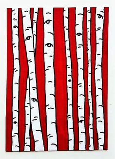 Red Birch Forest 242 ARTIST TRADING CARDS 2.5 x