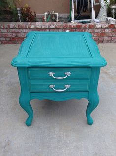 SOLD** Shabby chic teal end table/nightstand Teal Nightstands, Shabby Chic Nightstand, Shabby Chic Bedrooms, Shabby Chic Homes, Nautical Furniture, Bedroom Light Fixtures, Rustic Shabby Chic, Bedroom Night Stands, Furniture Makeover