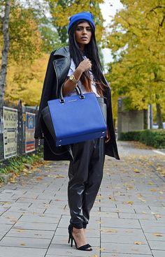 Kavita Donkersley from shewearsfashion with the Michael Kors Selma Bag. UK, October 2013
