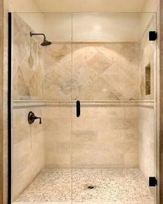 Travertine shower tile...LOVE!