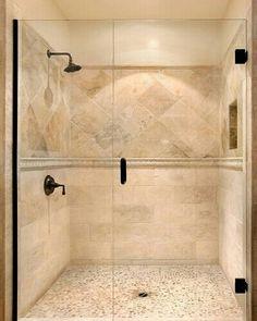 Travertine shower tile...LOVE!