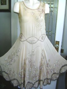 20'S BEADED SEQUINNED PEACH SILK GEORGETTE WITH GOLD METALLIC LACE FLAPPER DRESS | eBay