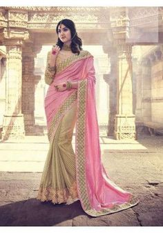 Pink and beige saree with heavy work