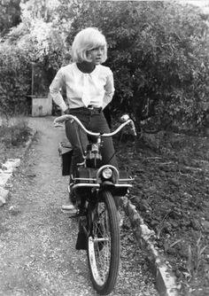 Sylvie Vartan on a Solex