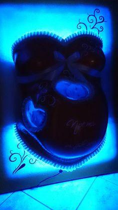 Babybauch Gipsabdruck, Babybauchabdruck, Lampe, Hintergrundbeleuchtung, Leinwand, Babybauch Gips, LED Beleuchtung