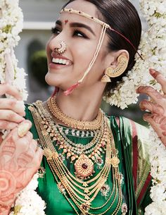 Rivaah presents traditional bridal jewellery exclusively for the Marathi bride. Explore our wide range of gold jewellery for the Marathi Bride. Marathi Bride, Marathi Wedding, Wedding Bride, Marathi Nath, Marathi Saree, India Wedding, Wedding Scene, Wedding Sarees, Wedding Blog