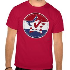 Star with US Flag, Red Check & 50 Stars - round Tees    •   This design is available on t-shirts, hats, mugs, buttons, key chains and more   •   Please check out our others designs at: www.zazzle.com/ZuzusFunHouse* #vote