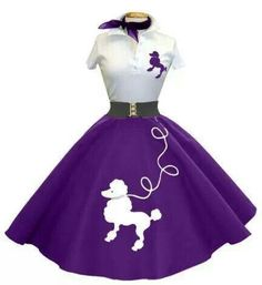 1950's Fashion: Purple Poodle Skirt - White Poodle Shirt -Purple Neck Scarf
