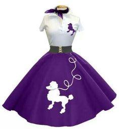1950s Fashion Purple Poodle Skirt