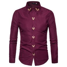 Casual Bussiness Solid Color Long Sleeve Shirts ($19) ❤ liked on Polyvore featuring men's fashion, men's clothing, men's shirts, men's casual shirts, mens embroidered shirts, mens extra long sleeve shirts, mens slim fit casual shirts, mens long sleeve collared shirts and mens polyester shirts