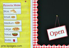 Dramatic Play Pizza Shop Menu. Printable props to make learning fun and meaningful in preschool and kindergarten!