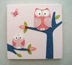 girls owl canvases | Baby girl room owl canvas. Decor picture & wall decal kids bedroom ...