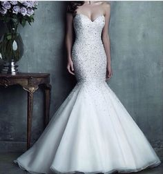 Beautiful bling mermaid fishtail wedding dress