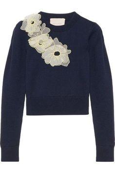 Roksanda - Nobuya Cropped Appliquéd Wool Sweater - Navy -