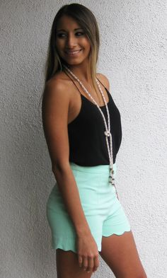 Spring Scalloped Shorts - Mint