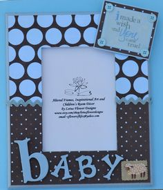 5x7 Blue Brown Polka Dot Baby Boy Picture Photo Frame Altered Art Room Decor Wall Hanging. $30.00, via Etsy.
