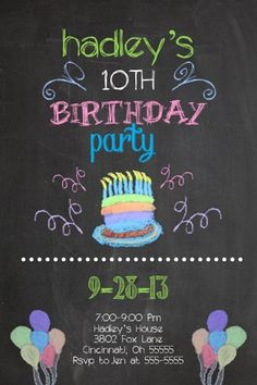 Chalk Black Board Custom Birthday Party Invitation