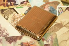 Vintage Art Deco Goldtone Cigarette Case from the by Steamcrunk, $30.00