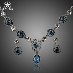 AZORA Exclusive Ancient Silver Plated Bule Stellux Austrian Crystal Earrings and Necklace Set TG0034