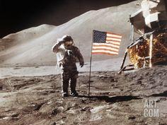 Apollo 15 Moonwalk 1971 Photographic Print at Art.com
