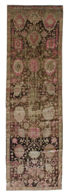 Oriental Rug Runners: Wide Gallery: Antique Karabagh Wide Runner, Hand-knotted in Caucasus; size: 4 feet 2 inch(es) x 13 feet 4 inch(es)