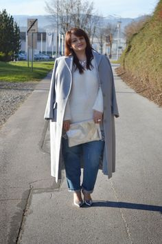 Plus Size Fashion - Curvy Claudia: Maxi Coat and Fluffy Jumper