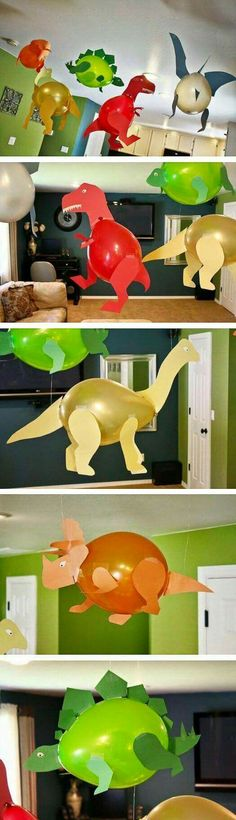 Geburtstagsparty DIY Deko - Kindergeburtstag Ideen Bastelideen Kinderparty Deko Dinoluftballons Luftballons Dinos by betsy Kids Crafts, Creative Crafts, Diy And Crafts, Creative Kids, Baby Crafts To Make, Simple Crafts, Dinosaur Birthday Party, Elmo Party, Mickey Party