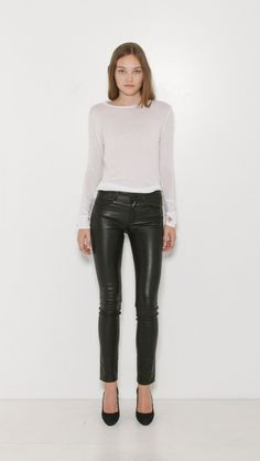 Helmut Lang 5 Pocket Leather Pant in Black | The Dreslyn