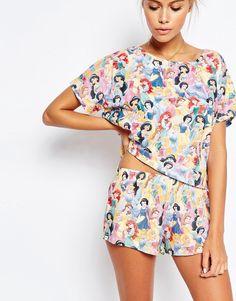 Image 3 ofASOS PETITE Disney Princess AOP Short & Tee Pyjama Set