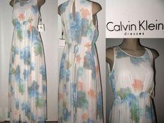 NWT CALVIN KLEIN Sleeveless Chiffon Maxi Dress Serene Floral Multi Pastels 12 #CalvinKlein #Maxi #Dressy