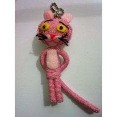 The Pink Panther Voodoo String Doll Keychain Diy Voodoo Doll Keychain, String Voodoo Dolls, Yarn Crafts, Diy Crafts, Crafts To Make, Arts And Crafts, Yarn Dolls, Pink Panthers, Tiny Dolls