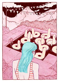 somewhat graphic, nice perspective, nice colors.   Kirsten Rothbart.