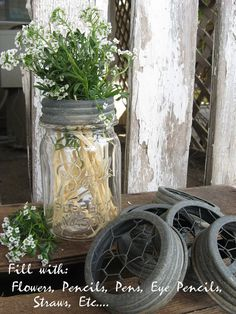 Canning Jar Flower Frog Lid -  Chicken Wire Center - fits any standard canning jar..... by SweetMagnoliasFarm, $6.00
