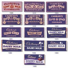 Cadbury Dairy Milk packaging design history. The main identifier for Cadbury is the purple colour used on the packaging. This timeline also shows the historic and timeless quality of dairy milk chocolate and gives feelings of nostalgia for the consumer.