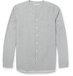Oliver Spencer Striped Collarless Cotton Shirt | MR PORTER
