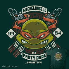 """Mikey is a Party Dude"" by Crystal Fontan aka Bamboota.   Michelangelo is a party dude!"