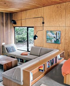 Would double as sleeping spots too! plywood walls and built-in seating in modern cabin / sfgirlbybay Plywood Interior, Home Interior, Interior Architecture, Plywood Walls, Modern Cabin Interior, Plywood Furniture, Modern Cabins, Plywood Bookcase, Interior Rugs