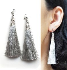 Silver Tassel Clip On Earrings, Long Tassel Invisible Clip On Earrings,Dangle Silver Fringe Clip Earrings, Non Pierced Earrings by MiyabiGrace on Etsy Tassel Jewelry, Pearl Jewelry, Silver Tassel Earrings, Diy Jewelry, Pierced Earrings, Clip On Earrings, Dangle Earrings, Boho Rings, Earring Backs