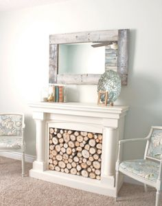 DIY Pallet Wall Mirror- might have to use this but as a picture frame