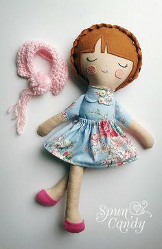 Handmade Doll, Cloth Doll, Fabric Doll, SpunCandy Dolls https://www.etsy.com/listing/234552223/daisy-18-heirloom-quality-doll-spuncandy