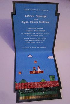 super mario wedding invitations (click through to see the cartridge invite, wedding favors, seating chart, etc!)