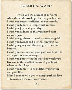 Robert Ward - I Wish You. - Unframed Typography Book Page Print - Great Gift for Book Lovers Poetry Quotes, Words Quotes, Wise Words, Me Quotes, Sayings, Qoutes, Quotations, I Wish You Well, My Wish For You