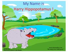 Harry Hippopotamus - A hippo who couldn't say his name. Sweet Stories, Hippopotamus, Speech And Language, Book Series, Family Guy, Printables, Student, Teaching, Education